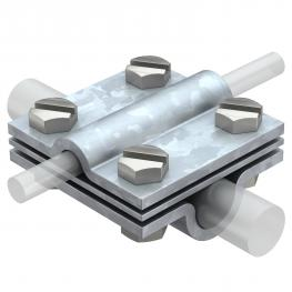 Cross-connector with intermediate plate for Rd 8−10 x Rd 16 FT