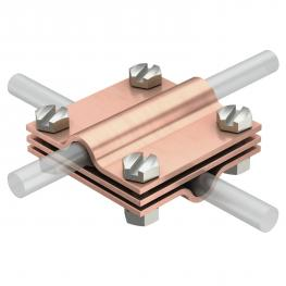 Cross-connector with intermediate plate for Rd 8−10 mm Cu