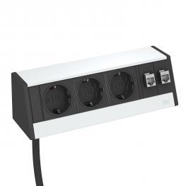 Deskbox DB, without fastening material, 3 sockets, 2x RJ45 Cat. 6