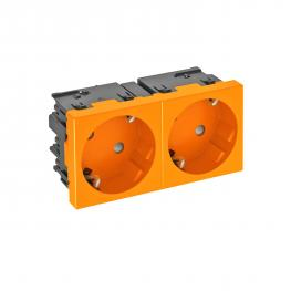 Socket 33°, Connect 45, protective contact, double, pure orange