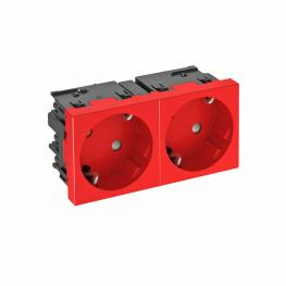 Socket 33°, Connect 45, protective contact, double, signal red