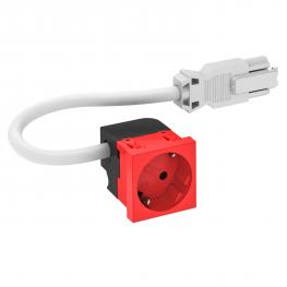Socket 33°, Connect 45, protective contact, single, signal red