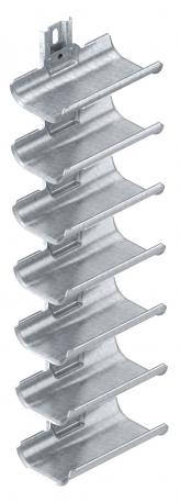 Cable carrier troughs, 7-fold, with mounting rail