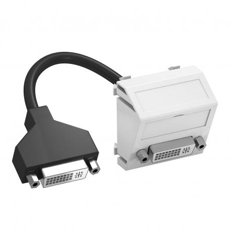 DVI-I connection, 1 module, slanting outlet, with connection cable