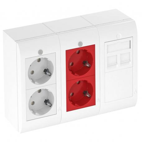 Complete unit, triple, 2x 2 protective contact sockets with control light, 1x data technology support