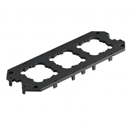 Cover plate for universal support UT4, with installation openings for 3 EK devices